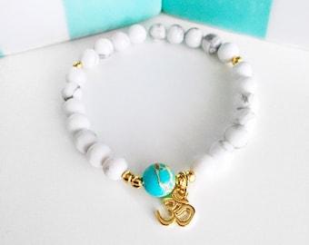 Mala Bracelet, Wrist Mala, Yoga Bracelet, Healing Bracelet, OM bracelet, Howlite Bracelet, White Bracelet, Bracelet, Beaded Bracelet, BMHJ