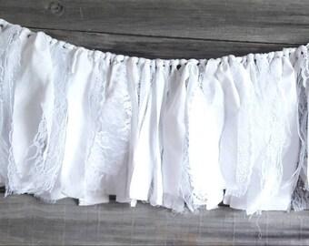 White fabric garland, fabric banner, wedding garland backdrop, shabby chic, farmhouse garland, rag tie garland, table garland, lace garland