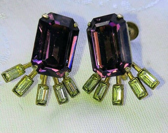 Art deco Coro amethyst glass and rhinestone screwback earrings.