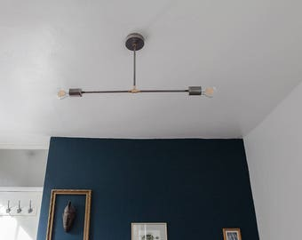 READY TO SHIP / Elbrus / Steel / Industrial / mid century / Sputnik / Pendant light / Handmade in London, England