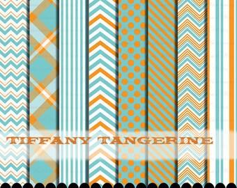 Orange and Aqua digital paper chevron blue clipart , Aqua clip art frames,  Polka dot blue orange paper pack : p0218 3s0622 IP