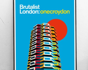 Brutalist London - No 1 Croydon - Illustrated Poster Art Print. Matte and Giclee prints. Architecture Prints of London. Housewarming gifts