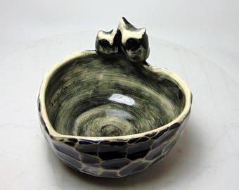 Horned Owl Bowl - Sugar Packet Holder - Black and White Trinket Bowl - Food Safe - Candy Dish - Wheel Thrown - Carved Pottery