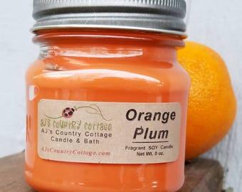 ORANGE PLUM SOY Candle - Orange Candles, Plum Candles, Scented Candles, Soy Candles, Winter Candles