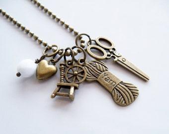 Yarn Lovers Charm Necklace - Yarn Addict Jewelry - Knitting Charm - Crochet Jewelry - Spinning Wheel Custom Charm Gift
