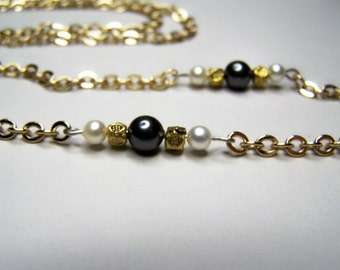 Gold Eyeglass Chain With Swarovski Element Glass Pearls, 26 Inches Chain for Glasses By Eyewearglamour
