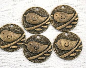 Brass Bird charms set of 10 includes 5 single birds and 5 with two birds