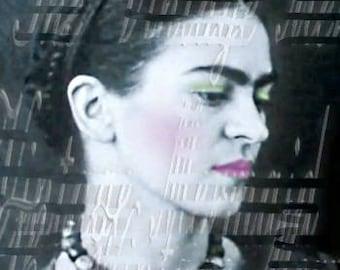 Black White Frida Kahlo Fabric Cotton Square Antique Photo Mexican Artist FK242