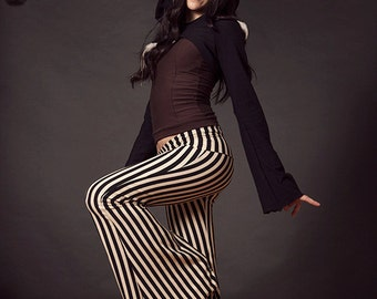 Stripe Pants, Flared Pants, Bells, Yoga Pants, Circus Pants, Steampunk, Pirate, Costume, Hoop Clothes, Festival Clothing, Cabaret