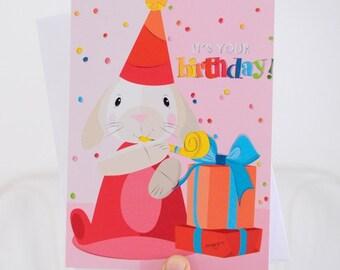 Girl birthday cards - Bunny Rabbit birthday card -  illustrated card - kids birthday cards - handmade card - Blank card - Pink greeting card
