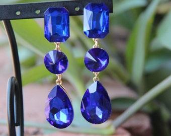 long royal blue rhinestone earrings, large crystal rhinestone earrings pageant / prom earrings, large green crystal pageant/prom earrings