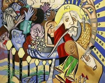Revelation Chapter 1 Print  Poster End Times  Jesus God Holy Spirit Cubism Anthony Falbo