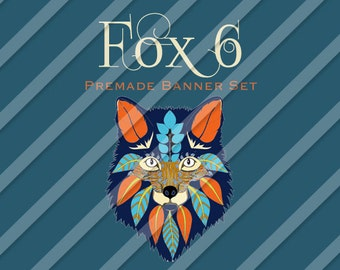 "Etsy Shop Banner Set - Graphic Banners - Branding Set - ""Fox 6"""