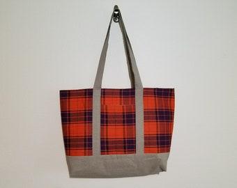 Tote Bag / Upcycled / Orange Purple Plaid / Taupe