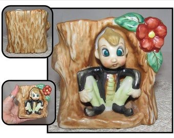 Vintage Ceramic China Planter of a Pixie Elf in a Tree Trunk by Acme Pottery, Japan