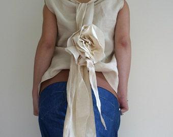 Linen Tunic/Blouse Raw Flower Back Ribbon by NervousWardrobe on Etsy