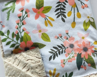 Coral Sprigs Baby Blanket, Minky Baby Blanket, Faux Fur Baby Blanket, Coral Baby Blanket, Floral Baby Blanket
