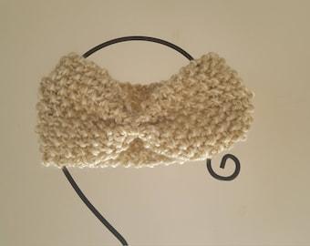 Mottled ecru hand knitted wool ear warmer headband headband
