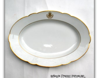 Antique French Porcelain Platter - Signed Lerosey Old Paris Porcelain- Family Heirloom Wedding Gifts Rihoeul Lerosey,Paris