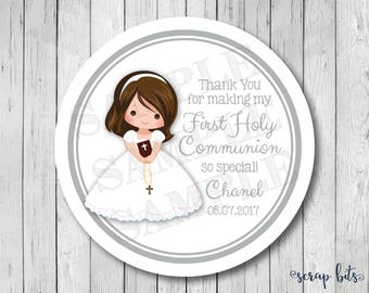 First Communion Stickers . Personalized First Holy Communion Favor Tags or Labels, Communion Thank You Stickers
