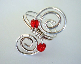 Swirls with red Sterling silver ring