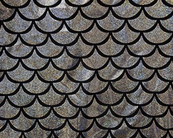 Silver Dragon Scale Spandex Fabric Holographic Mermaid Fish Lizard Reptile Sparkly Grey Gray Glistening Shiny (By the Yard)