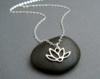 small lotus flower necklace. tiny silver necklace. sterling silver. zen yoga jewelry. simple. everyday. dainty delicate jewelry gift 1/2""
