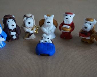 West Highland Terrier Christmas nativity set.