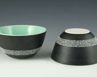SALE Bowl in Satin Black with Mint Green Interior