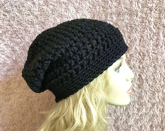 Black Slouchy Crochet Hat