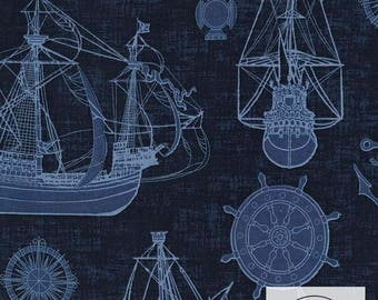 Timeless Treasures Ships Fabric // Quilting Cotton // Cotton Woven // 100% cotton // Ship Fabric