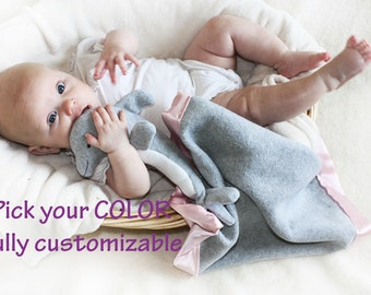 Gray Dolphin Security Blanket, Lovey Blanket, Satin, Baby Blanket, Stuffed Animal, Baby Toy - Customize Color - Monogramming Available
