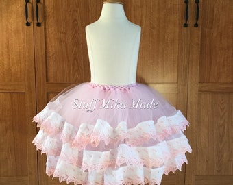 4T Pink/White Vintage Lace Trim Tutu - 4T Triple Layer Pink Vintage Trim Tutu - Ready to ship