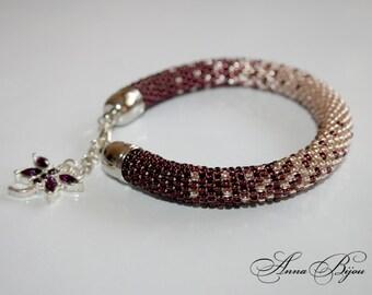 SALE 30% Bead crochet bracelet - Beaded rope bracelet - Handmade jewelry -  Seed Bead Bracelet