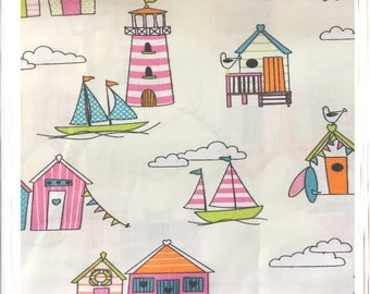 Nautical Seaside Beach Hut Metre Fat Quarter Crafting Sewing Fabric Material Handmade Projects Wide Fabric Children's Fabric