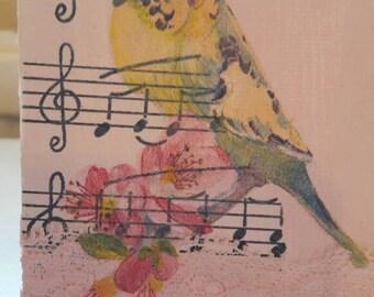 Mixed media mini canvas art, birds, lace, home decor, bird wall hanging.