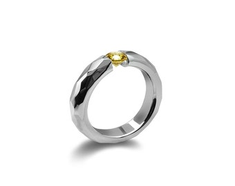 Yellow Topaz Tension Mens Ring Hammered Stainless Steel Mounting
