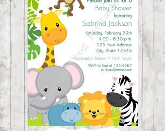 Boy or Girl, Wild Animals, Jungle, Safari Baby Shower Invitations - Printed Jungle Safari Baby Shower Invitation by Dancing Frog Invitations