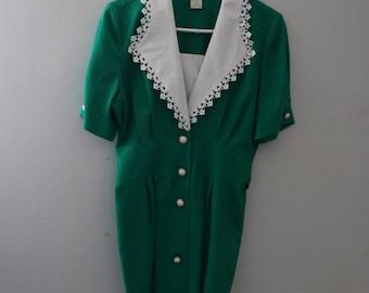 Vintage Green Collared Dress