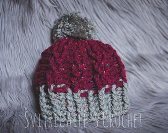 SALE• 6-10 Years, Crochet Warm Hat With Pom Pom, For Boy Or Girl, Winter Hat, Ready To Ship