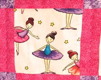 Ballerina Quilt for Baby Girl in Pink Baby Blanket Nursery Bedding Crib Quilt
