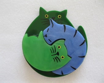 Galalith Triple Sleeping Cats Or Puzzle Cat Pin By French Designer Pavone