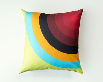 Target Pillow, Graphic Cushion, SALE, bull's eye, red, orange, turquoise, green
