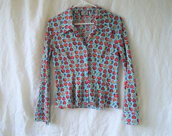 90s Rainbow Heart Print Button Down Shirt