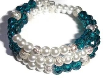 Pearl Bracelet Crystal Bracelet triple wrap cuff wrap bracelet memory wire bracelet bridal jewelry white pearl cuff teal cuff gift for her