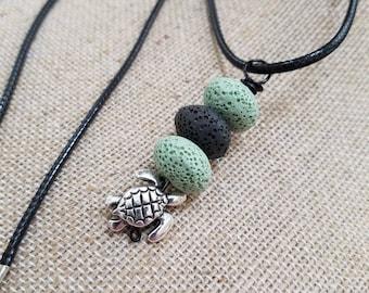 Turtle charm, EO Diffuser Jewelry, Essential oils diffuser necklace, Personal Diffuser Jewelry, Lava Stones, Aromatherapy