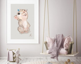 Cute Hamster Art Print - Cute Hamster Poster -Cute Hamster Kids Gif - Cute Hamster Decor/Room Wall Art