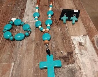 Turquoise Crosses SET