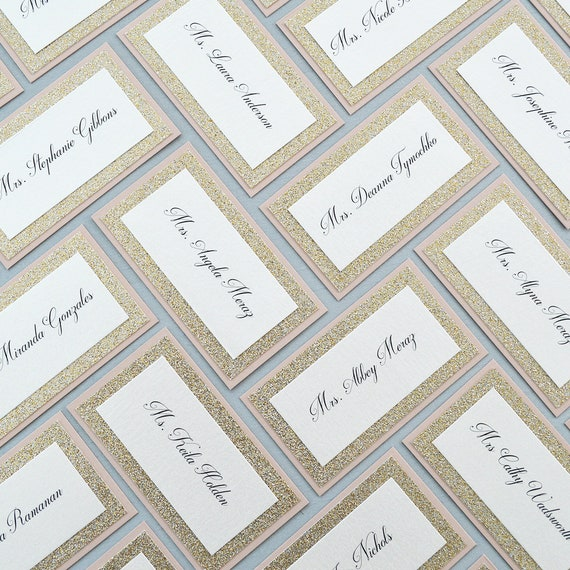 Glitter Place Cards - Escort Card - Custom Placecard for Wedding, Sweet 16, Quinceañera, Bridal Showers with Glitter Border
