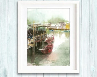 Print of original watercolor painting of fishing village, boats landscape painting art giclee print